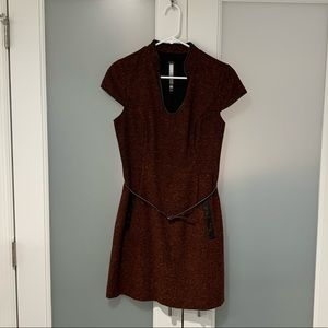 Kensie Belted Tweed Dress